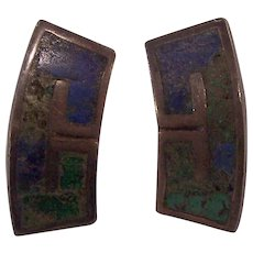 Los Castillo Taxco Sterling Silver Mexican Mosaic Earrings