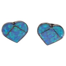 Opal Sterling Silver Heart Earrings