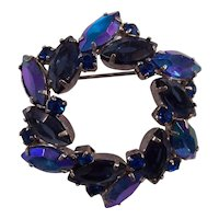 Blue Purple Marquis Rhinestone Circle Brooch Silver tone