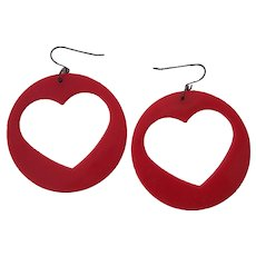 Red Lucite Plastic Heart Earrings
