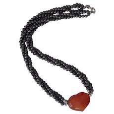 Hematite Beads Orange Stone Heart Necklace