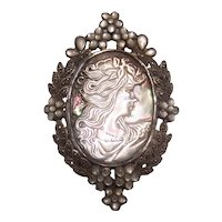 Large Sterling Silver Abalone Mother of Pearl Cameo w/ Marcasites Brooch Pendant