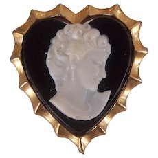 Small Vintage Lucite Heart Cameo Pin Gold tone
