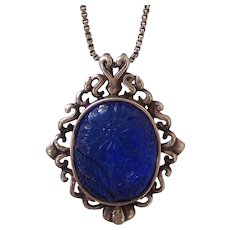 Carved Molded Blue Glass Sterling Silver Pendant Necklace