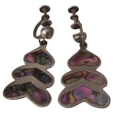 Taxco Sterling Silver Mexican Abalone Earrings Signed