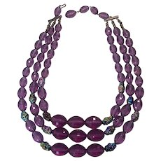 Amethyst Lucite & Lava Bead 3 Strand Necklace
