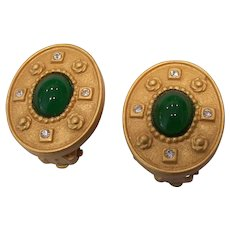 Carolee Green Cabochon Gold tone Clip on Earrings