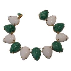 Vintage Faux Jade & White Glass Tear Drop Bracelet
