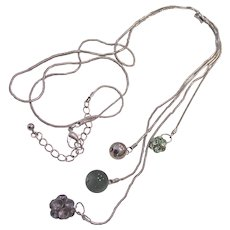 Lariat Style Dangling Balls Necklace Moonglow Lucite and Rhinestones Silver tone