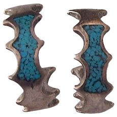 Small Sterling Turquoise Mosaic Half Hoop Earrings
