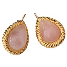 KJL Pink Quartz Glass Gold tone Pierced Earrings