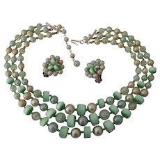 3 Strand Green Japan Moonglow Lucite & Plastic Bead Necklace
