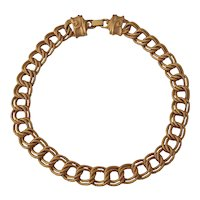 Wonderful Double Link Gold tone Necklace