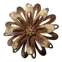 Vintage Monet Layered Flower Brooch in Gold tone