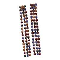 Dangling Multi Colored Rhinestones Earrings