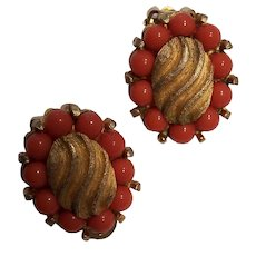 Marvella Faux Coral Gold tone Clip Earrings