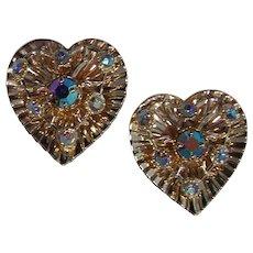 Heart Shaped Aurora Borealis Earrings in Gold tone
