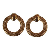 Vintage Monet Gold tone Hoops Pierced
