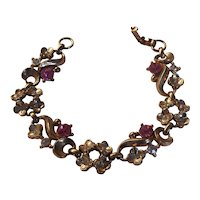 Pretty Vintage Bracelet Pink Rhinestones  Floral Gold tone