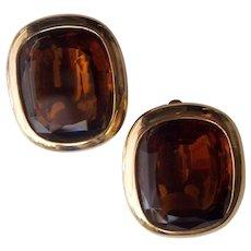 Lovely Topaz Glass Joan Rivers Earrings