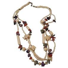 3 Strand Carved Bone Elephants & Gemstone Necklace