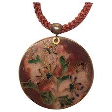 Rare Robert Kuo Enamel Cloisonne Pendant Necklace
