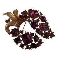 Lisner Beauty Purple Rhinestone Brooch Gold tone