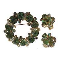 Vintage Garne Brooch & Earrings Set Green Rhinestones and AB