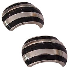 Vintage Bijoux Designs Black Enamel Silver tone Earrings