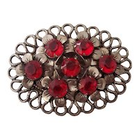 Large Red stones Flower Czech Style Sash Brooch Silver tone
