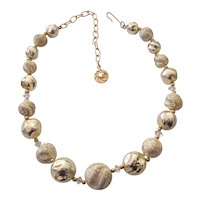 Lisner Textured Coated Faux Pearl Choker Necklace