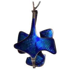 Huge David Andersen Sigurd Ostern Blue Enamel Modernist Pendant Necklace