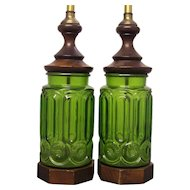 Pr LE Smith Moon and Stars Green Glass Electric Lamps