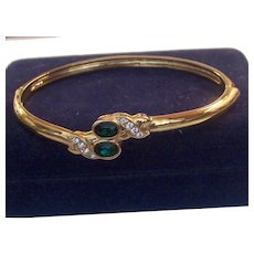 Hinged Bangle Green Glass & Clear RS Snake heads Bracelet in Original Box