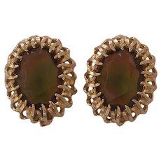 Large Topaz multi color Glass Emmons Gold tone Earrings