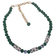 White & Green Millefiore and Frosted Green Glass Bead Necklace