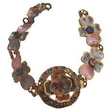 Vintage Czech Enamel & Rhinestone Flower Bracelet