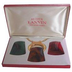 Iconic Lanvin Paris 1970s Interchangeable Pendants Necklace Orig Box & Tag