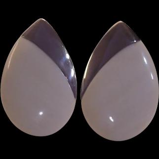 Sterling Silver & Lucite  Resin Les Bernard Earrings