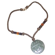 Kai-Yin Lo KYLO Jade Medallion Pendant and Stone Necklace 925 and cord