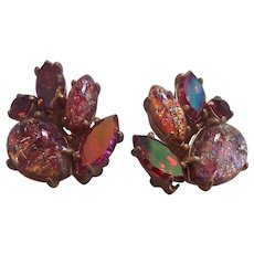 Tantalizing Schiaparelli Red & Art Glass Cabochons Earrings
