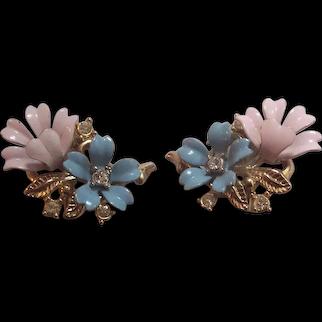 Crown Trifari Blue & Pale Pink Enamel Flower Fleurette Earrings
