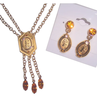 Napier Necklace & Earrings Set Gold tone Lady with Birds