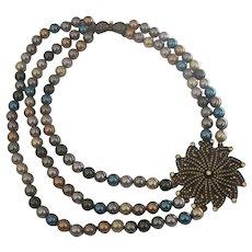 Heidi Daus Starburst Disc on Multi Colored Fx Pearls Asymmetric Necklace