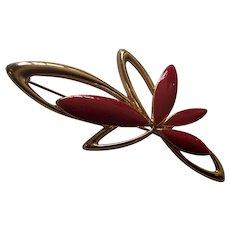 Trifari Red Enamel Gold tone Modernist Brooch