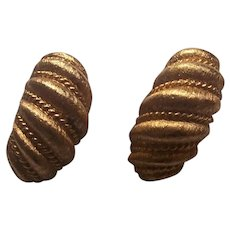Napier Gold tone Demi Hoop Clip on Earrings