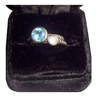 Two T & C Sterling Stacking Rings Size 7- 1 Blue Topaz w/ 14K