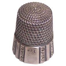 Pretty Sterling Silver Size 11 Thimble