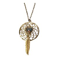 Dream Catcher Pendant w/ Fx Opal Heart Gold tone