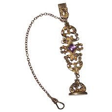 Antique Bates & Bacon Amethyst Glass Gold Filled Watch Chain Fob